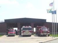 Trucks in front of Fire Station Two