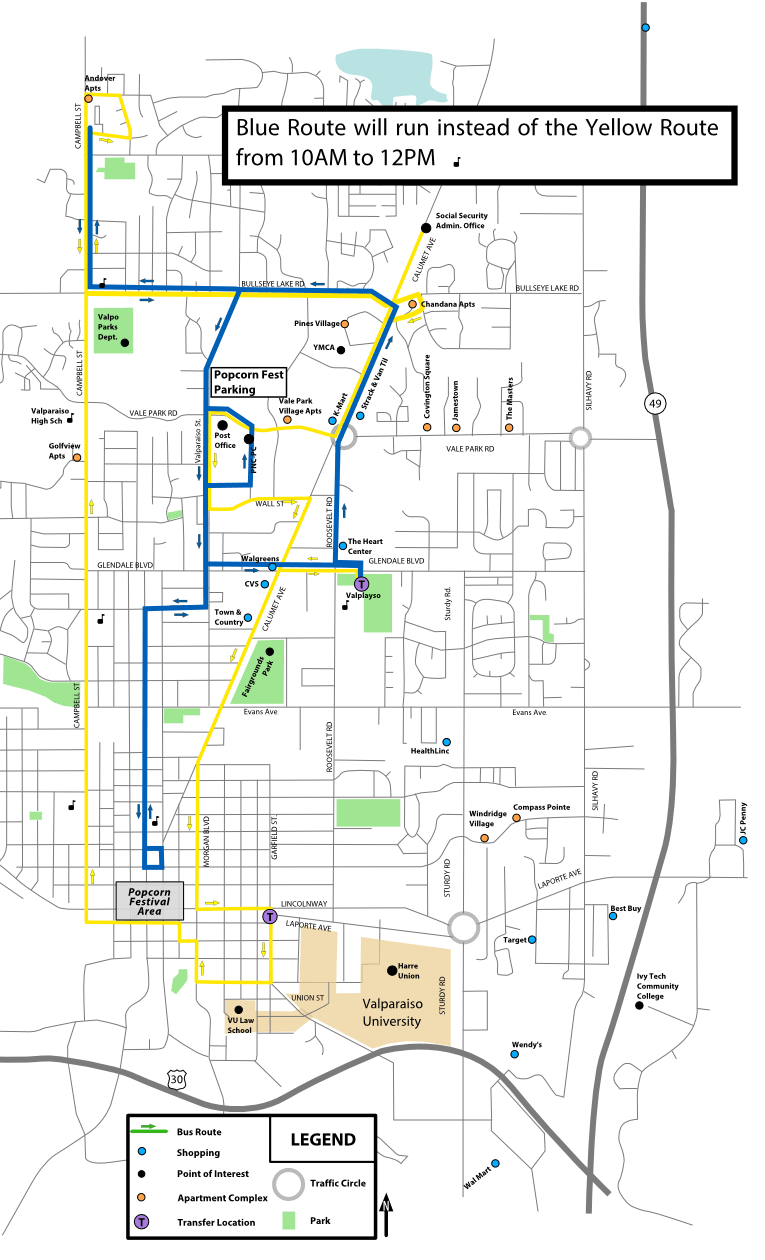 Popcorn Festival Routes Yellow and Blue