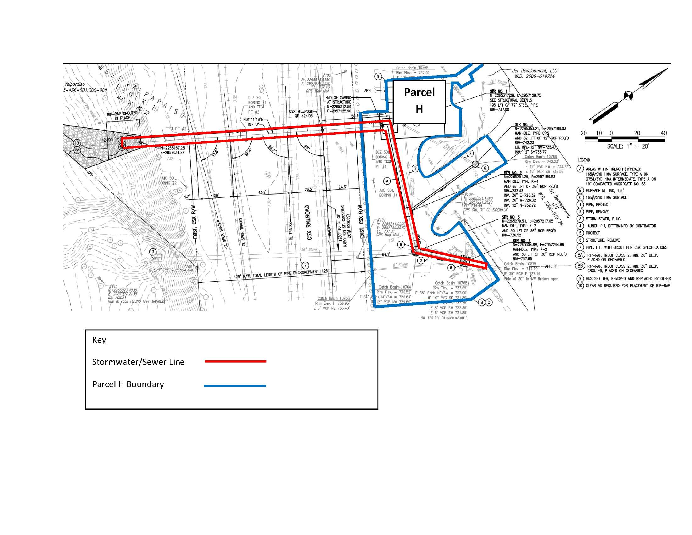 Parcel H, stormwater-sewer outline